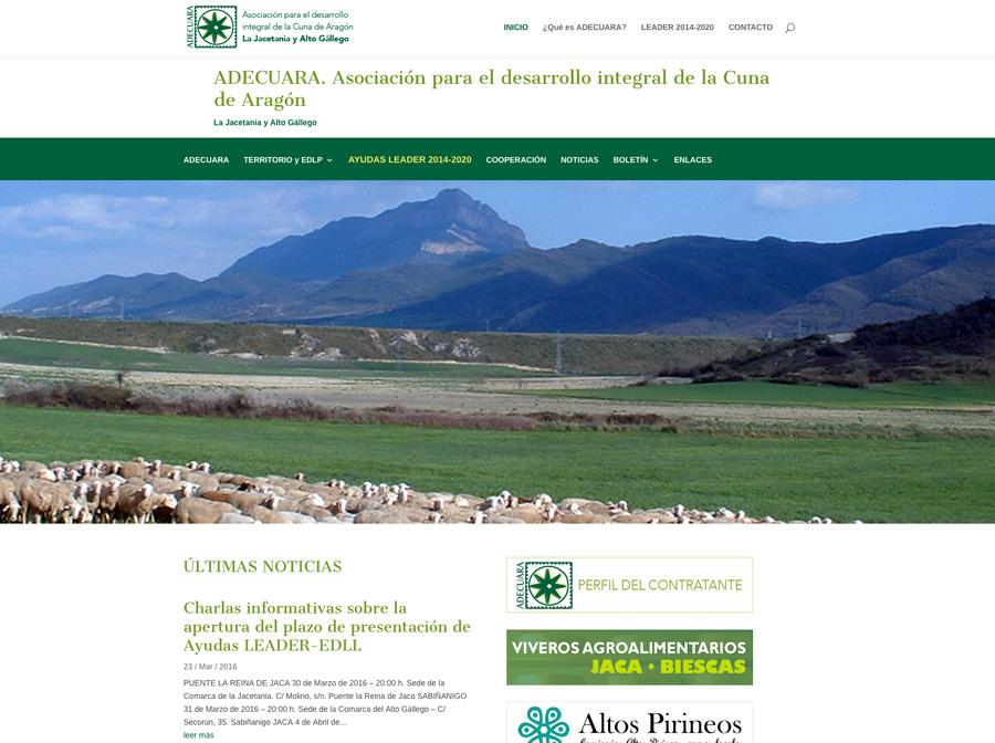 Renovación de la web de ADECUARA (Asociación para el desarrollo integral de la Cuna de Aragón)