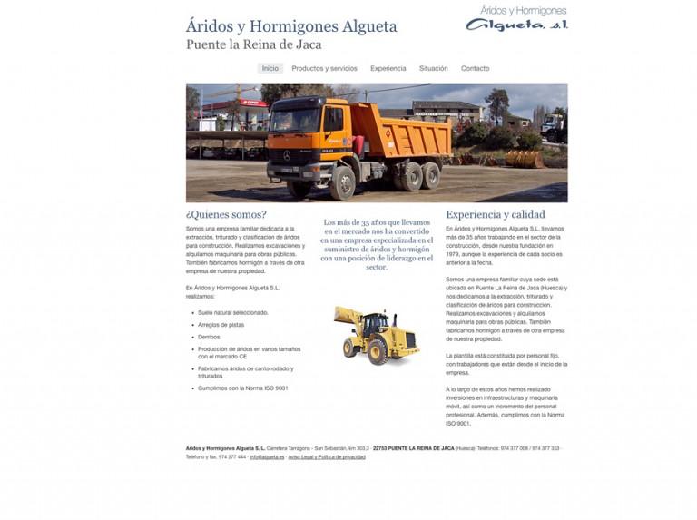 Web responsive para Áridos y Hormigones Algueta