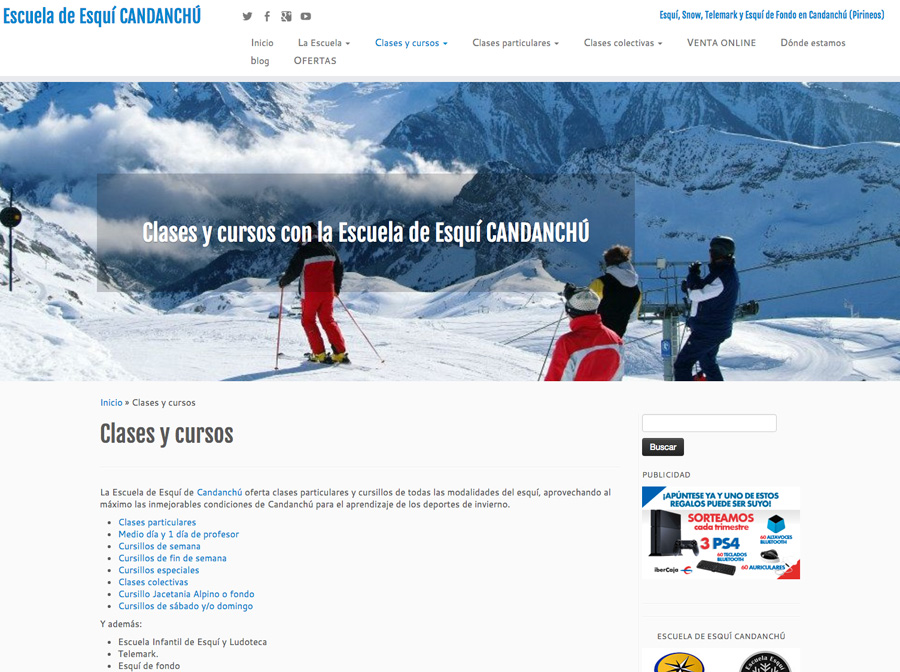 Web de la Escuela de Esquí de Candanchú: cursillos, clases, reserva online