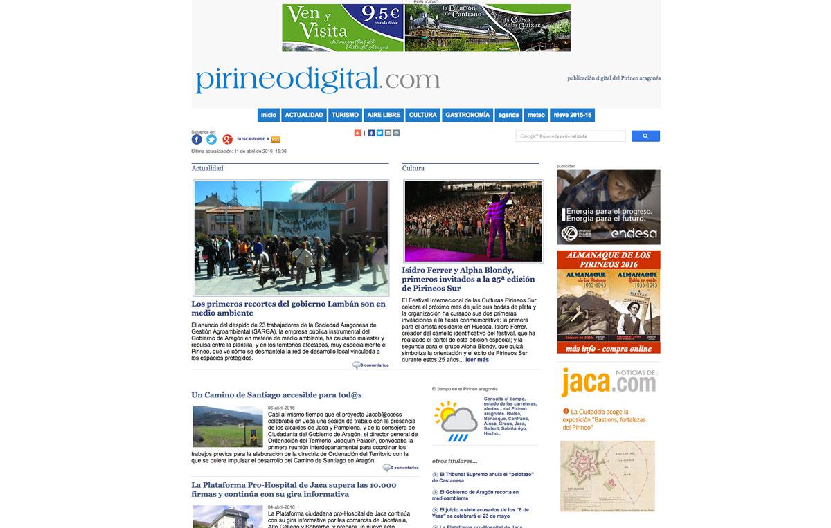 www.pirineodigital.com es el medio de comunicación del Pirineo aragonés desde hace más de 15 años.