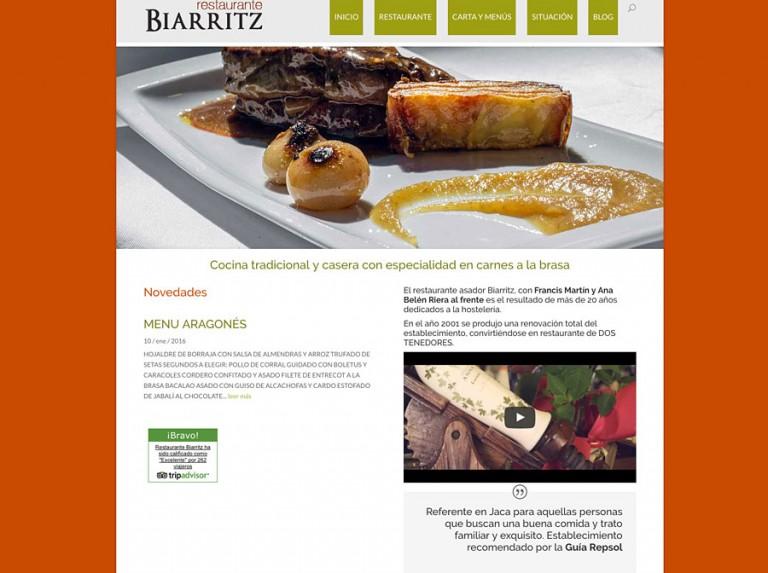 Web del Restaurante Biarritz de Jaca