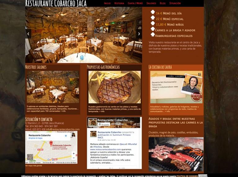 Web de Restaurante Cobarcho en Jaca