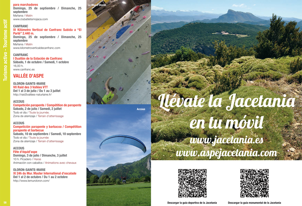 Guía de ocio de la Jacetania 2016. Diseño y maquetación: Pirineum. Mónica Ballarín