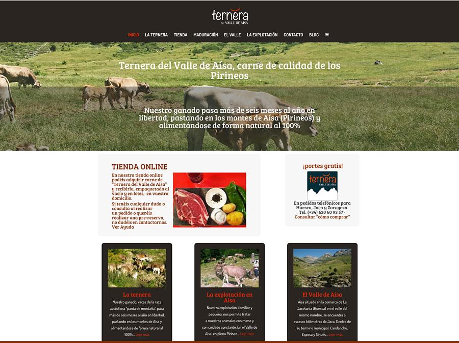 """Durante varios meses de 2016 hemos estado trabajando con los responsables de """"Ternera del Valle de Aísa"""" para poner en marcha su web y tienda online para su carne (www.terneravalledeaisa.es). Ya en funcionamiento, pero todavía en proceso de desarrollo, esta web es el resultado de un proyecto enmarcado en el Programa de Emprendimiento Agroalimentario de Aragón del Instituto Aragonés de Fomento."""