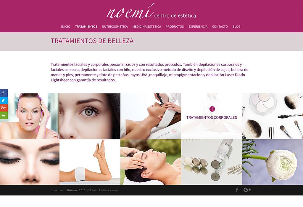 Web de Centro de estética Noemí · Jaca